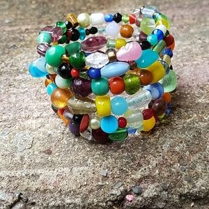 Colorful Mixed Media Wire Wrap Bracelet